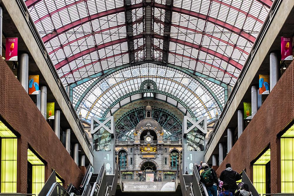 Antwerp clock escalator Antwerp Belgium