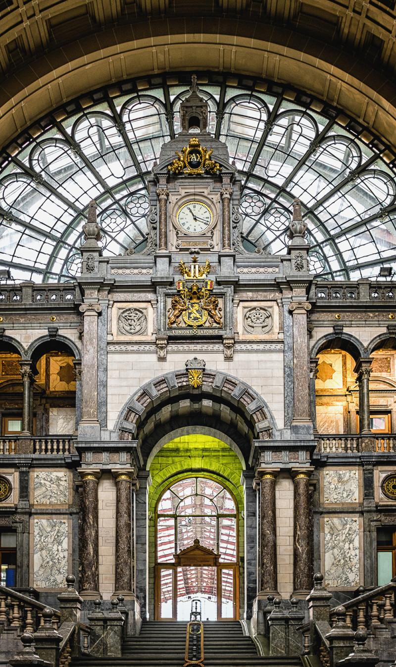 Antwerp train station clock stairs Antwerp Belgium