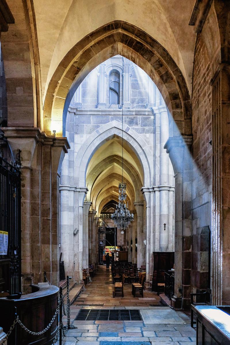 Beaune church beam of light Beaune France