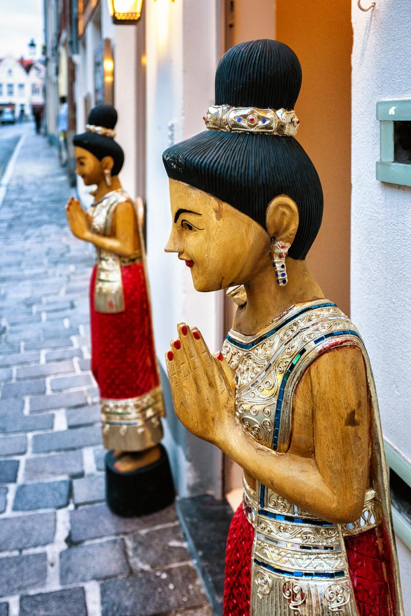 Bruges Markt wooden statues Bruges Belgium