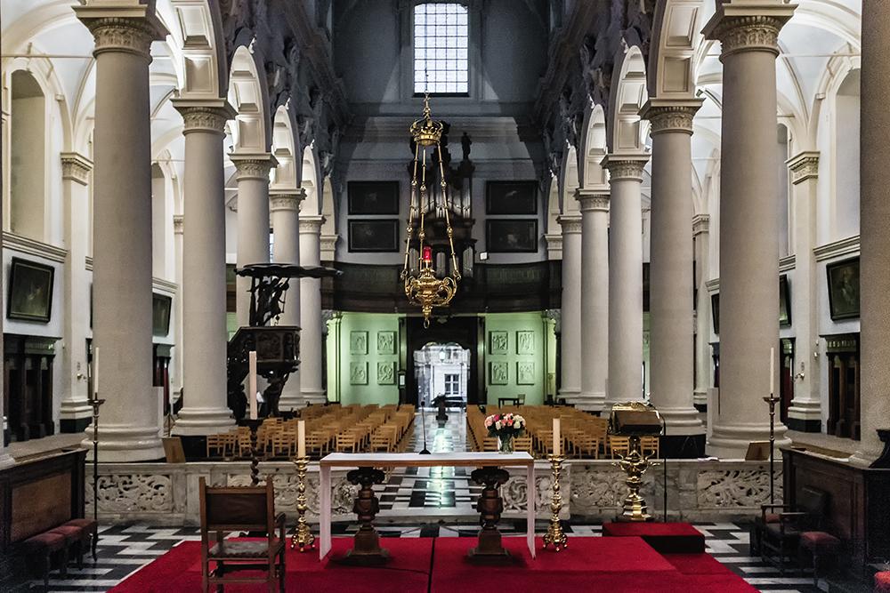 Bruges St Walburgha interior from altar Bruges Belgium