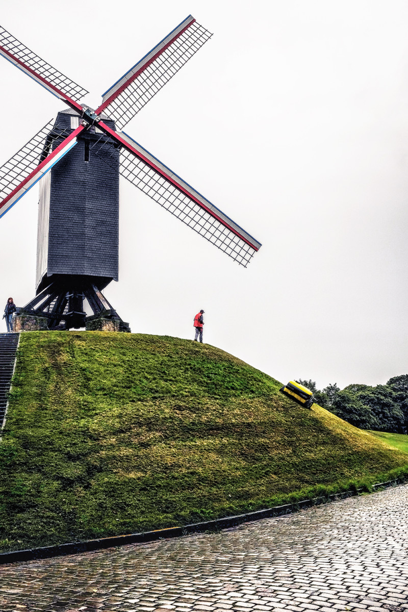 Bruges windmill lawn mower Bruges Belgium