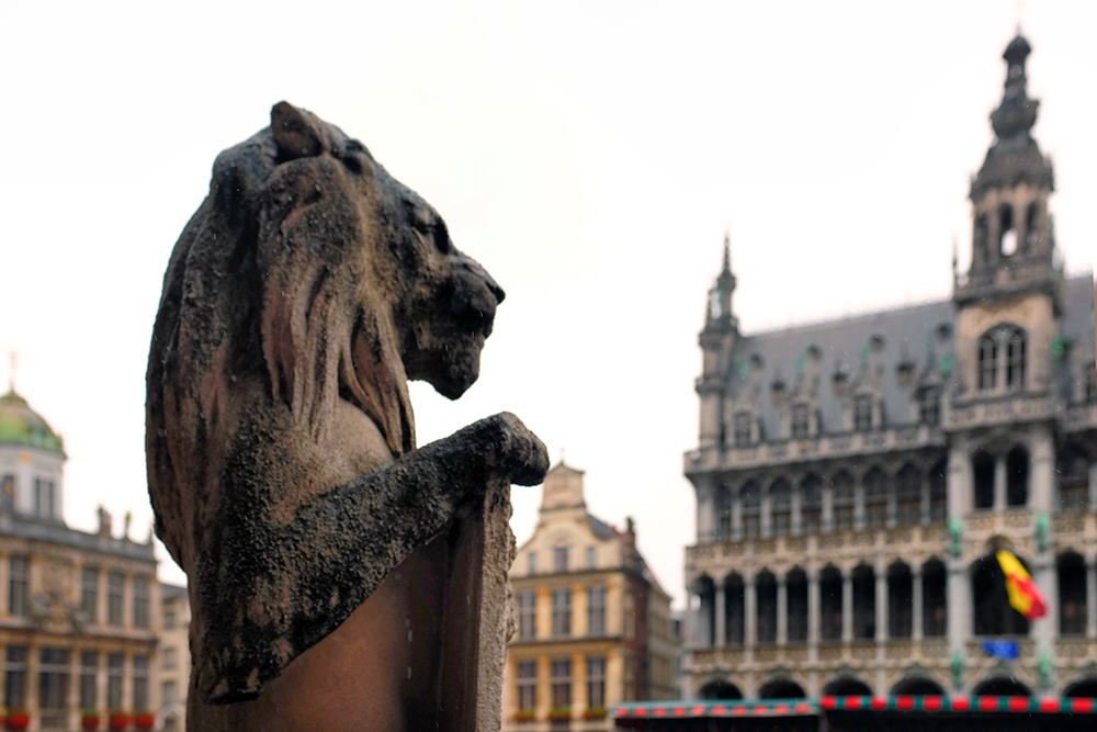 Brussels Grand Place lion Brussels Belgium