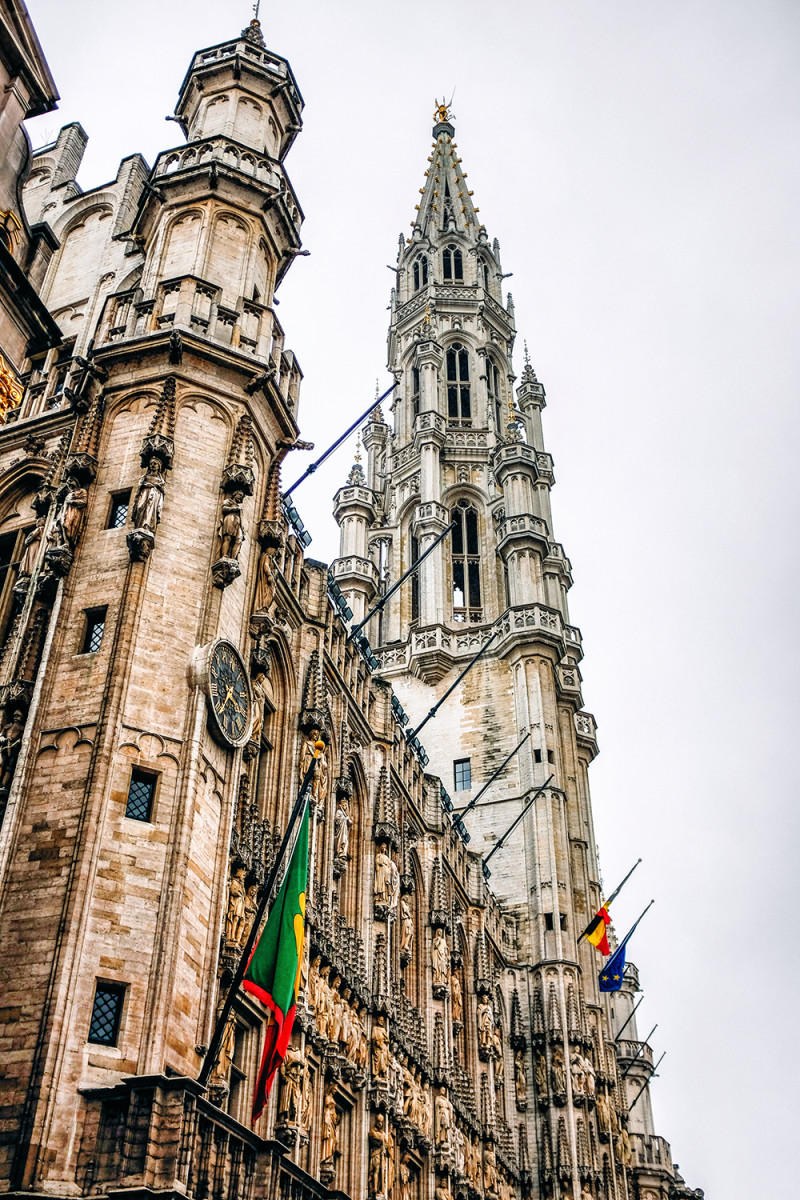 Brussels Grand Place spire Brussels Belgium