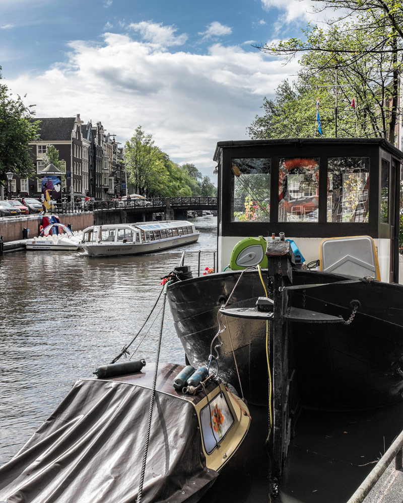 Canal boats Amsterdam Netherlands