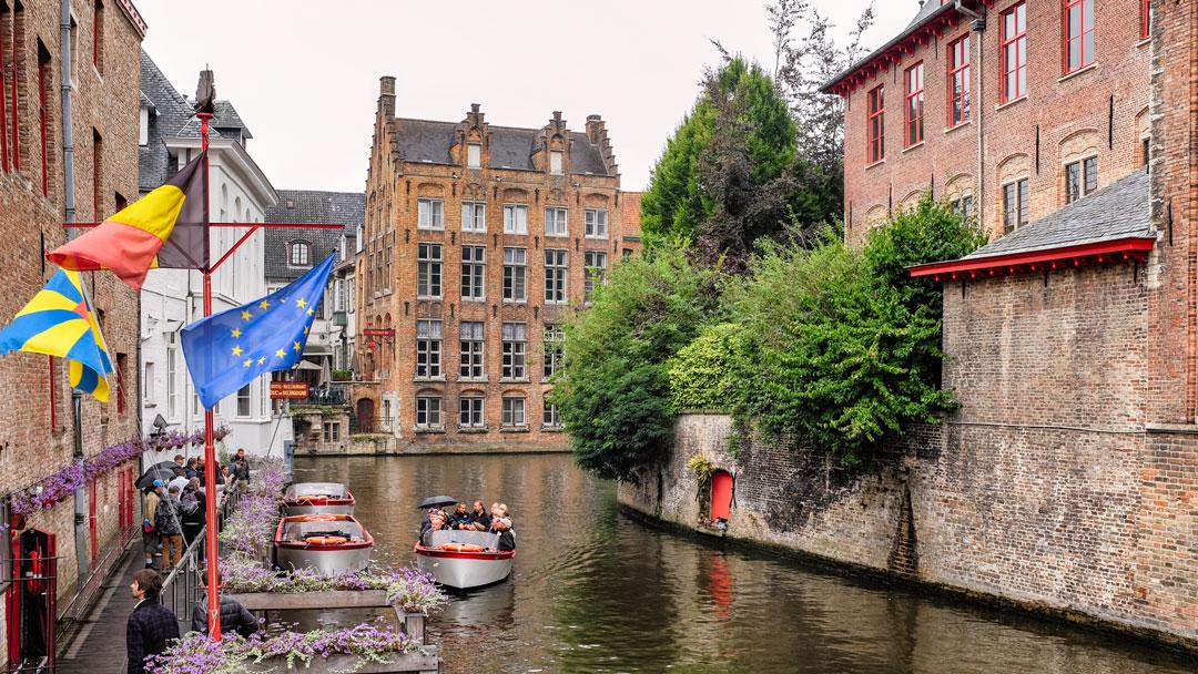 Canal boats Bruges Belgium