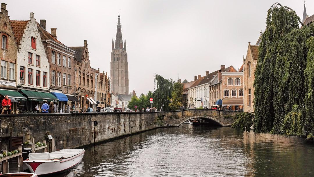 Canal bridge Bruges Belgium