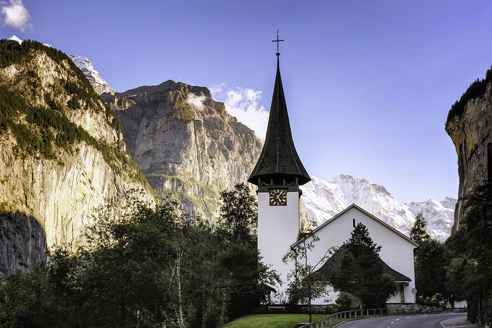 Lauterbrunnen church steeple Lauterbrunnen Switzerland