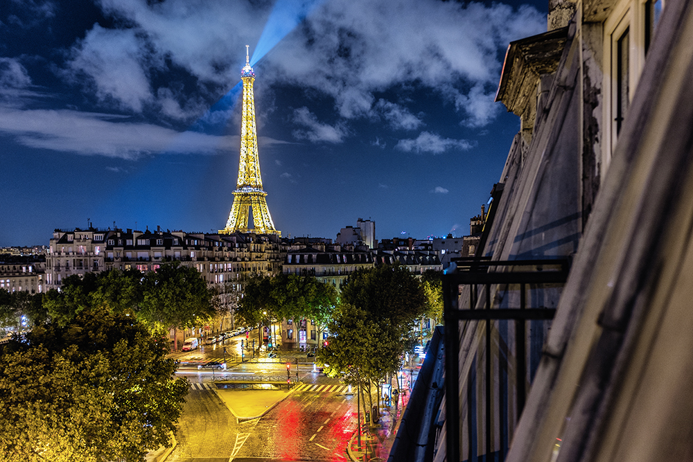 Paris Eiffer Tower night room balcony Paris France