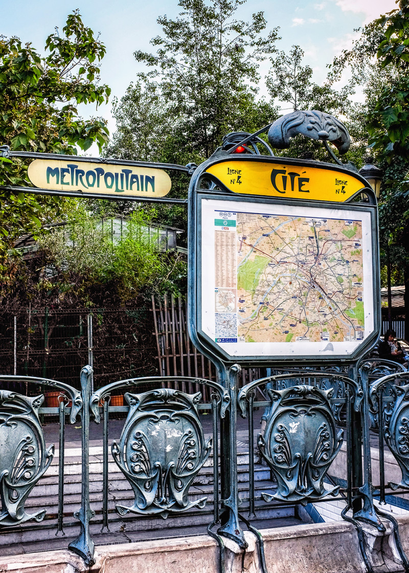 Paris Ile de Cite Metropolitain exit Paris France