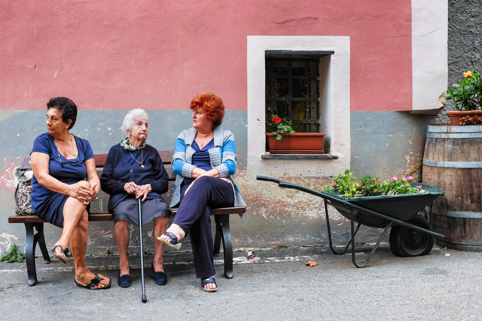 Monterosso women on bench Cinque Terre Italy