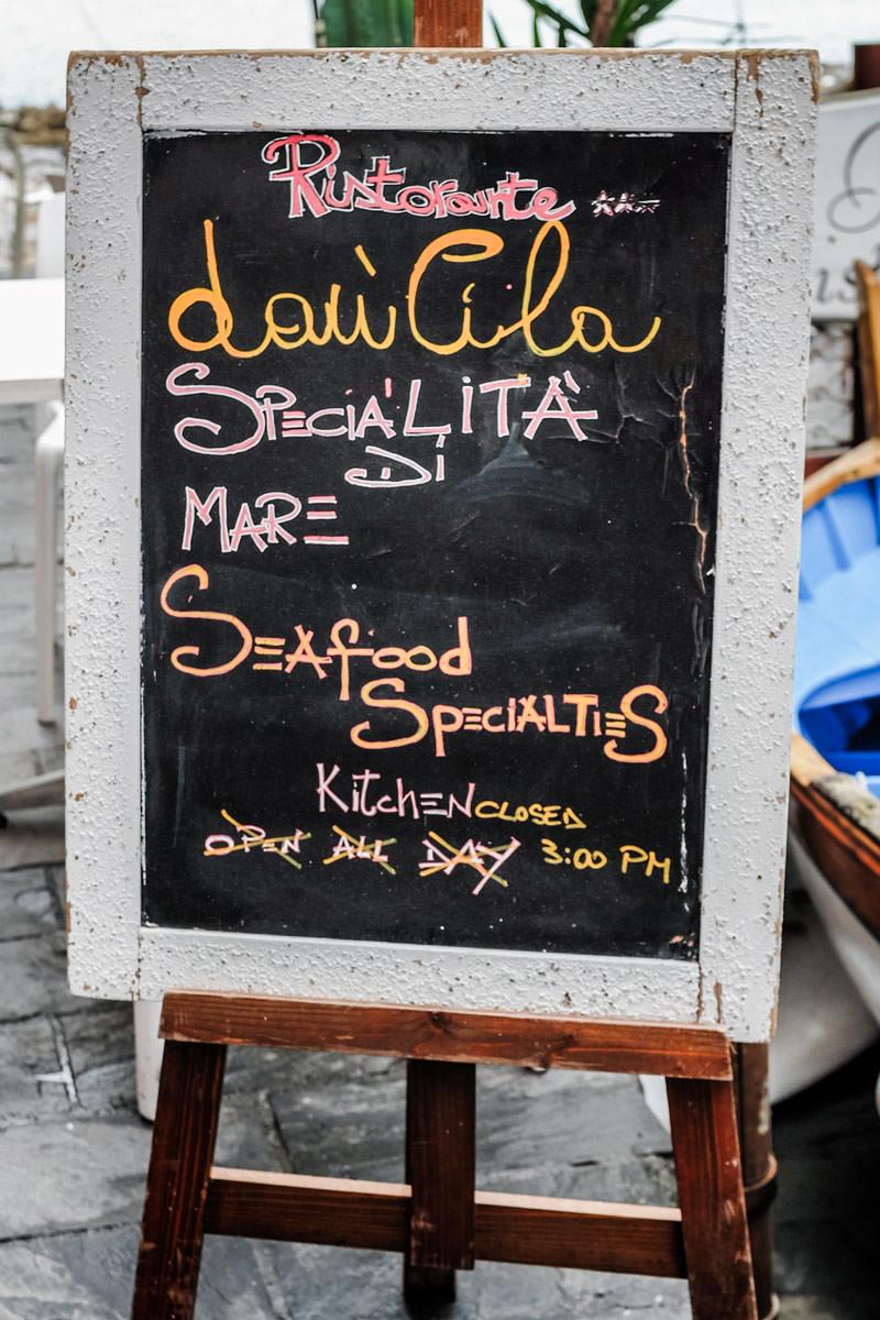 Riomaggiore restaurant sign Cinque Terre Italy