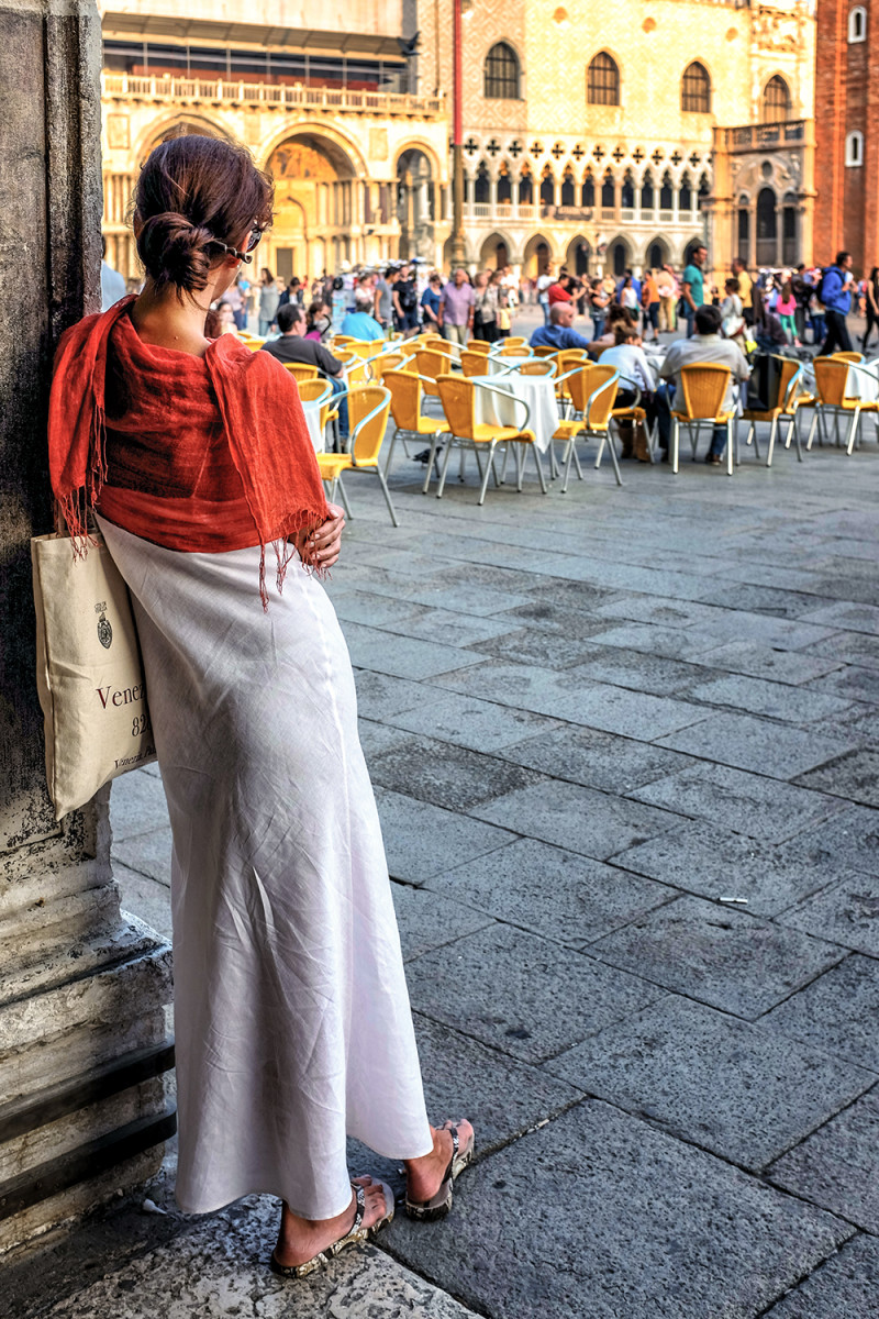 Venice woman Piazza San Marcos Venice Italy