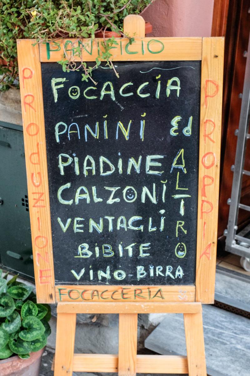 Vernazza menu board Cinque Terre Italy