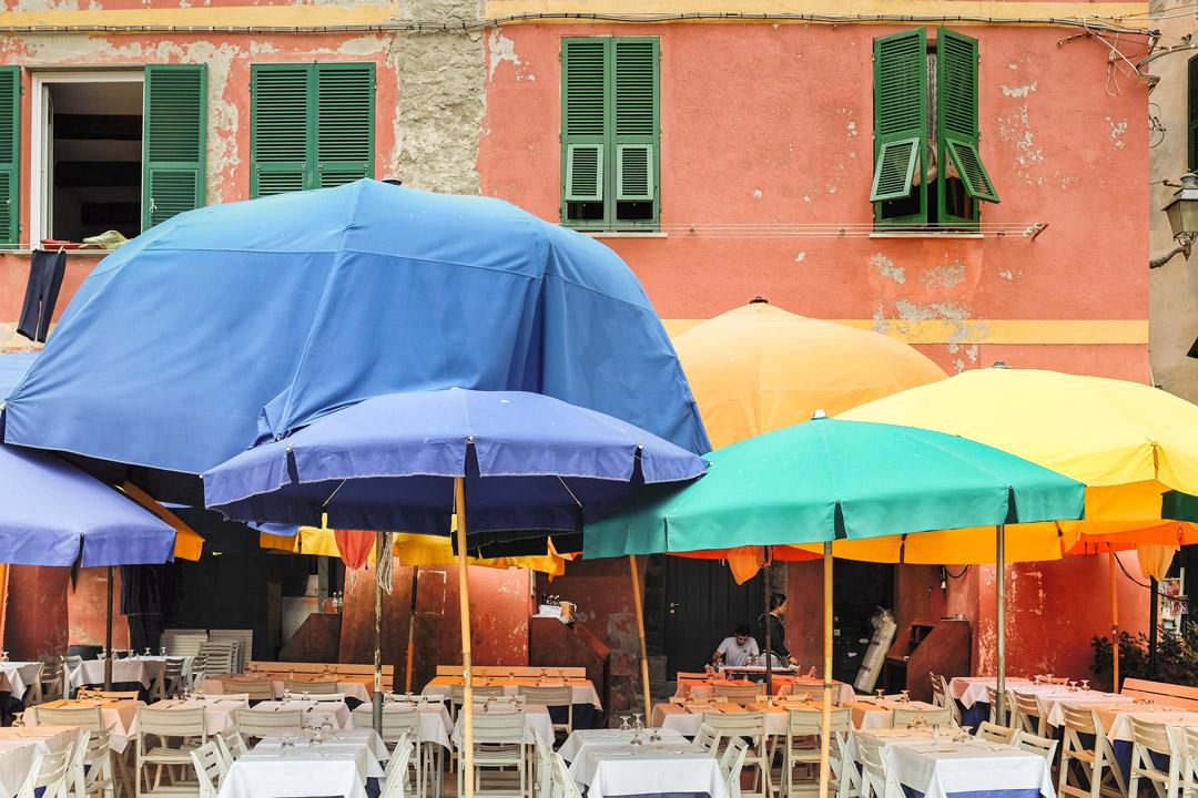 Vernazza restaurant umbrellas Cinque Terre Italy
