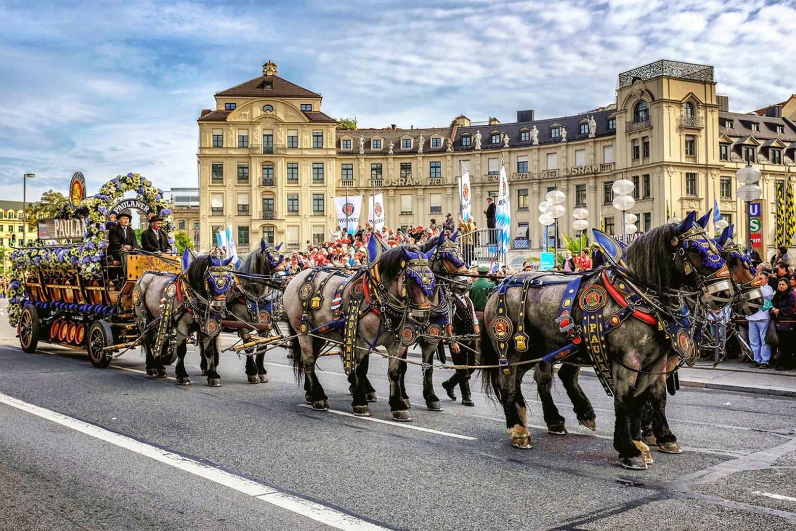 Oktoberfest Pauliner horses Munich Germany