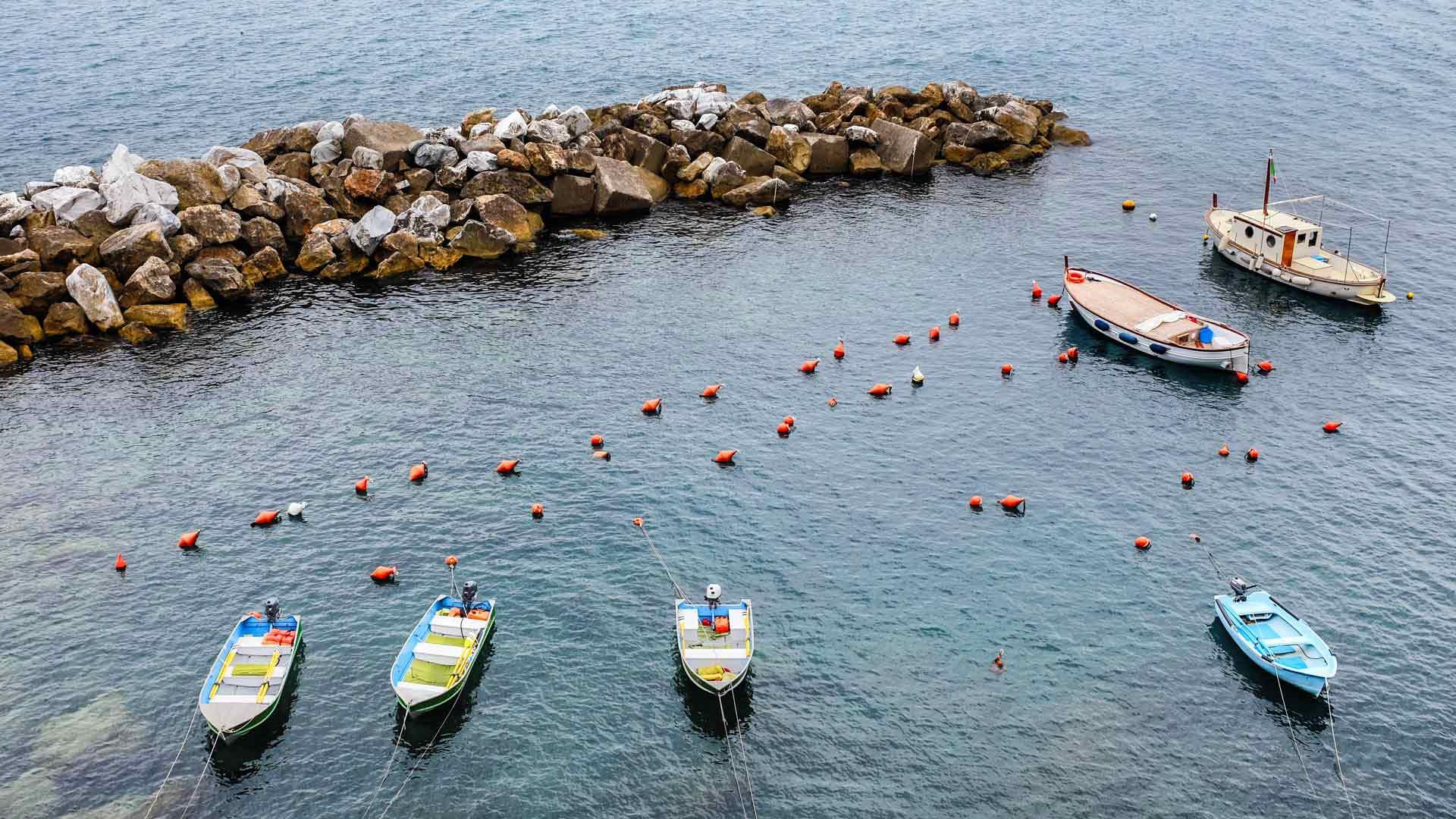 Riomaggiore harbor boats Cinque Terre Italy