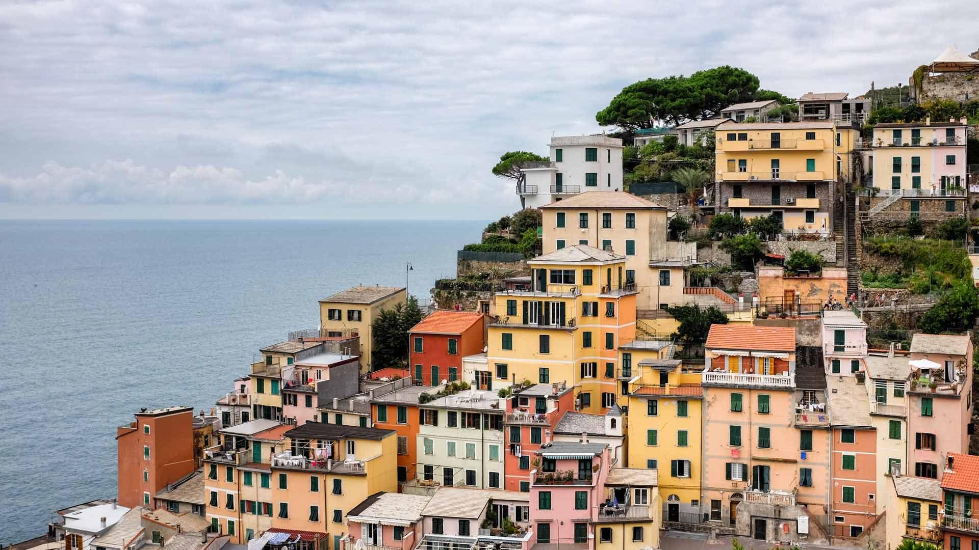 Riomaggiore hillside houses Cinque Terre Italy