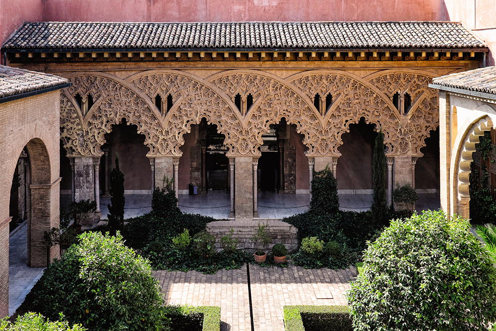 Palace of Aljaferia courtyard Zaragoza Spain