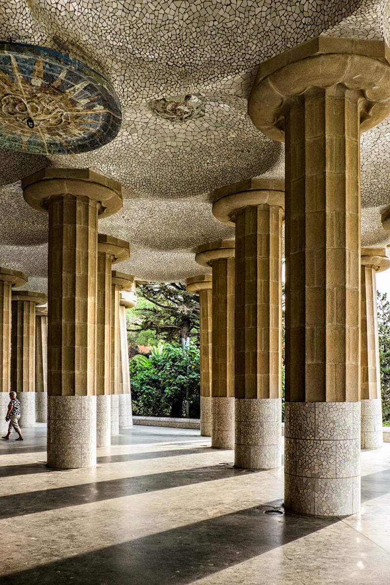 Park Güell columns Barcelona Spain