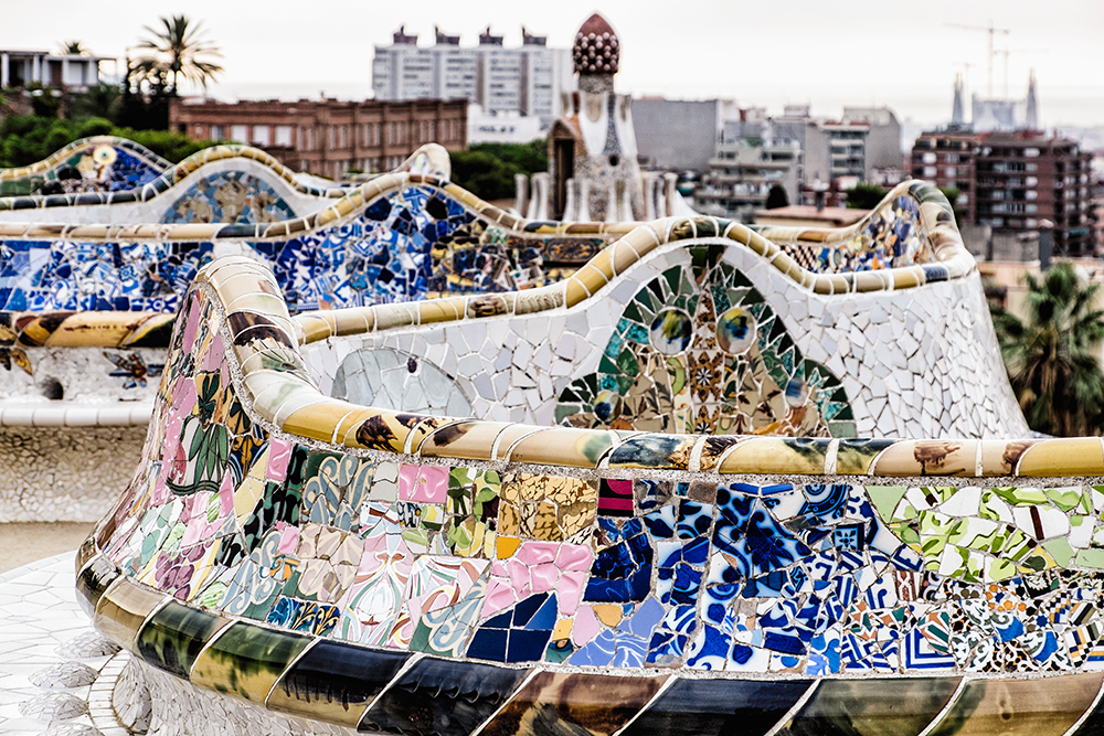 Park Güell curved seating closeup Barcelona Spain
