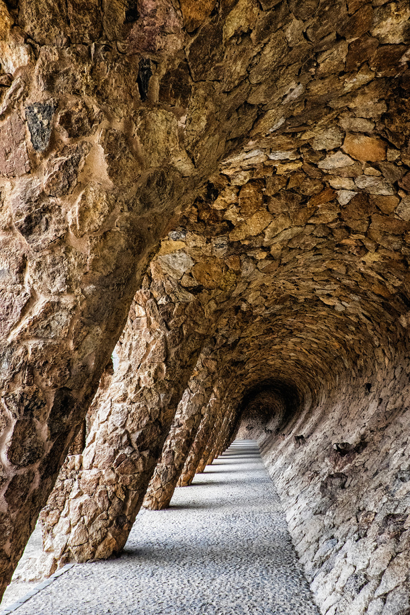 Park Guell Colonnaded pathway Barcelona Spain
