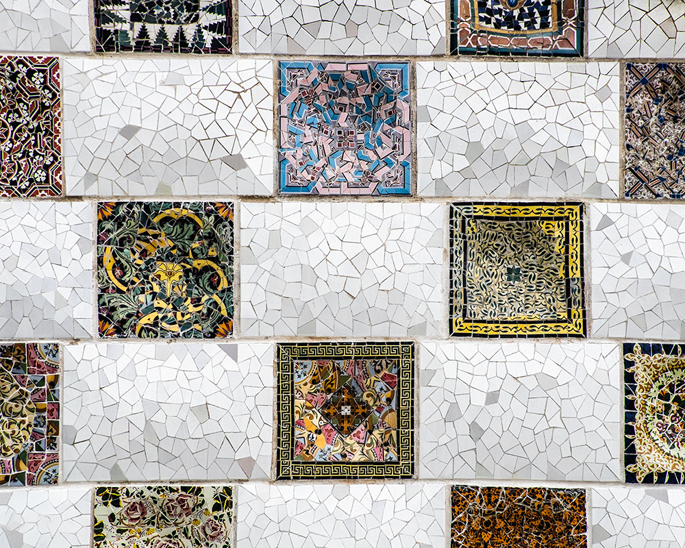 Park Guell mosaic tiles Barcelona Spain