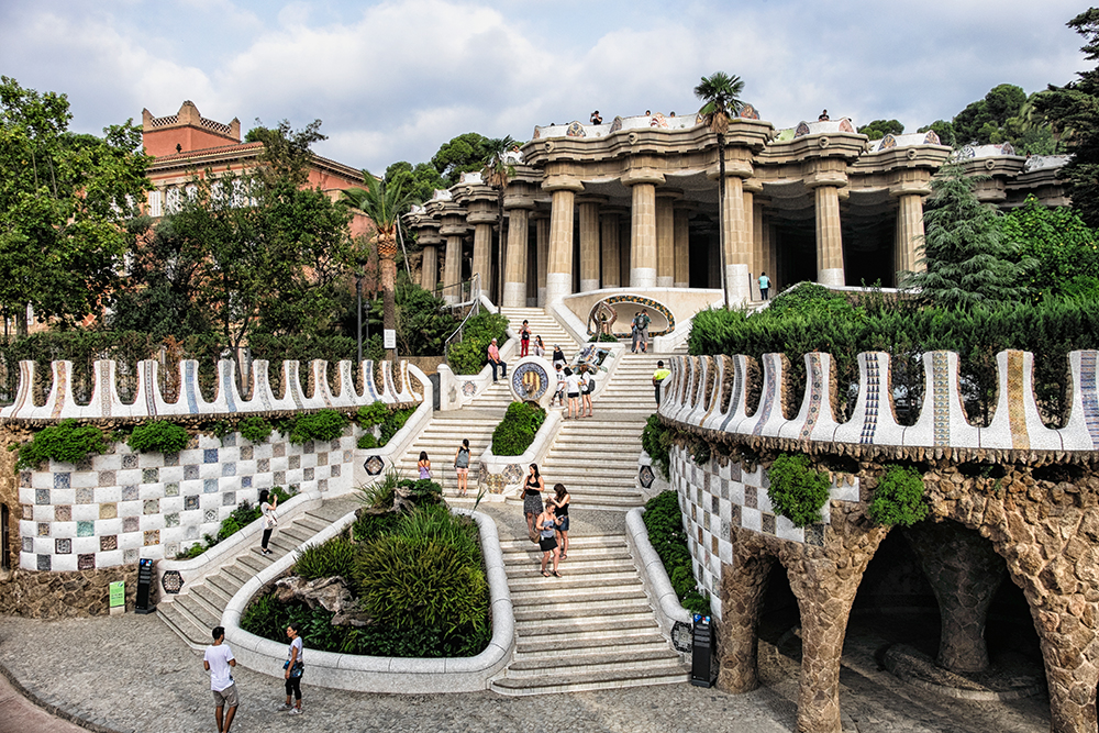 Park Guell staircase entrance Barcelona Spain