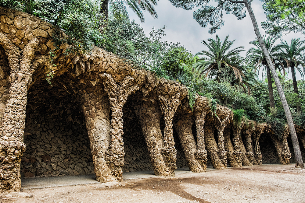 Park Guell portico columns Barcelona Spain