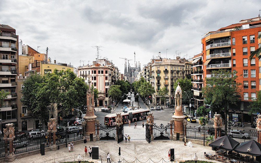 Sant Pau overlooking city Barcelona Spain