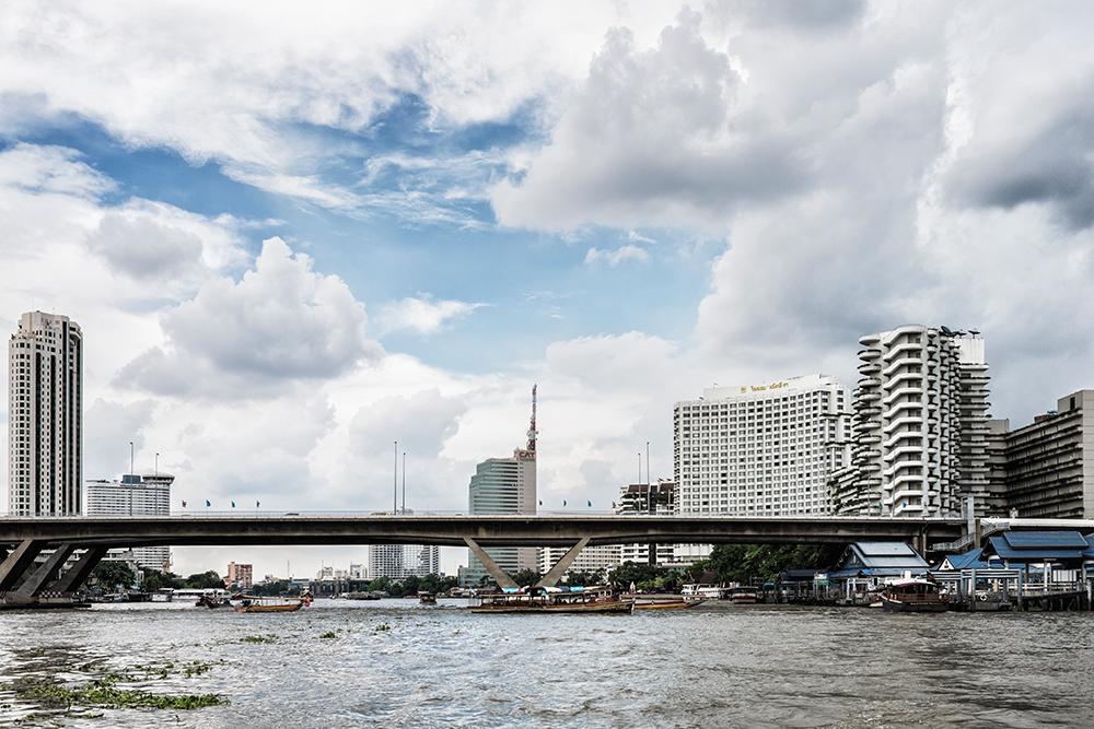Chao Phraya River MBK metro line overpass Bangkok Thailand