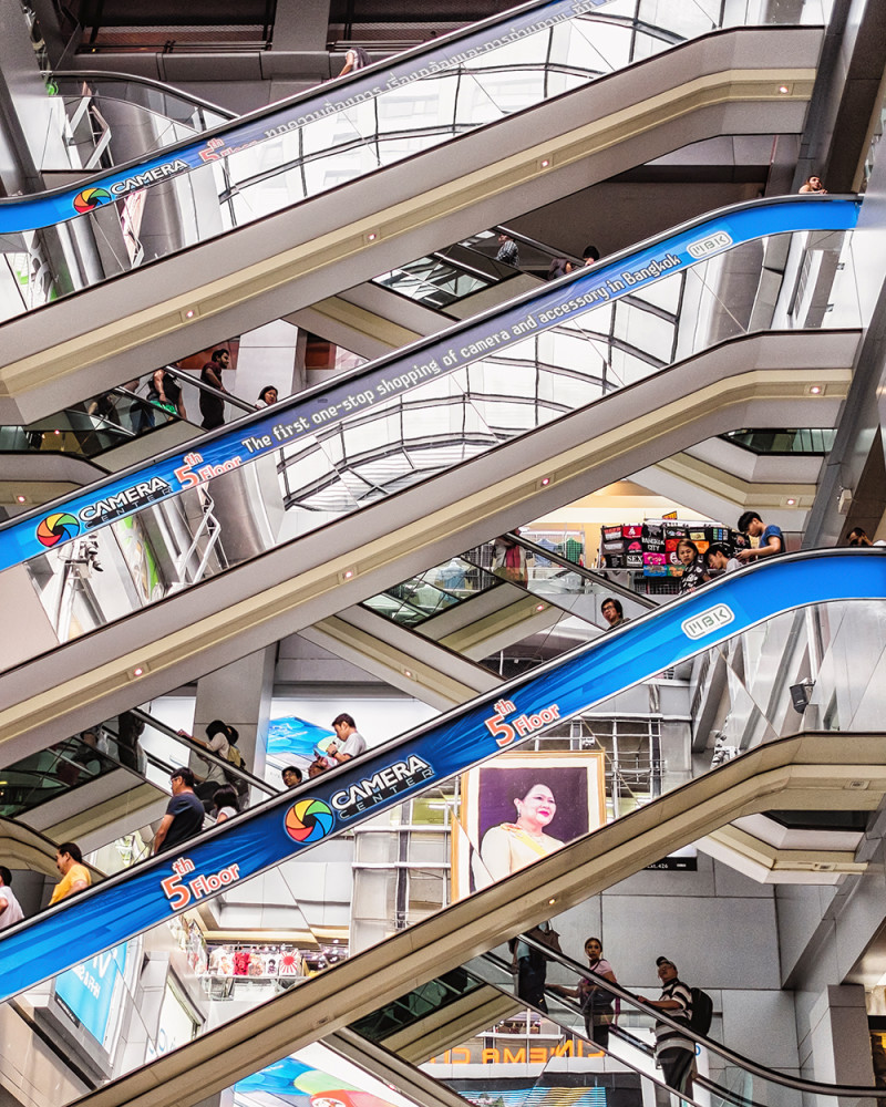 MBK escalators Bangkok Thailand