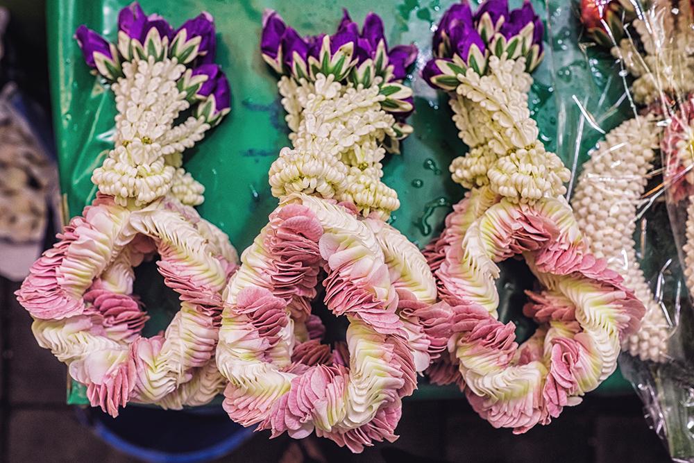 Pak Khlong Talat Flower Market wreaths Bangkok Thailand