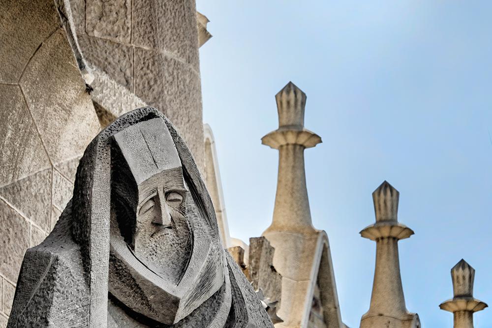 Sagrada Familia Peters denial sculpture Passion facade Barcelona Spain
