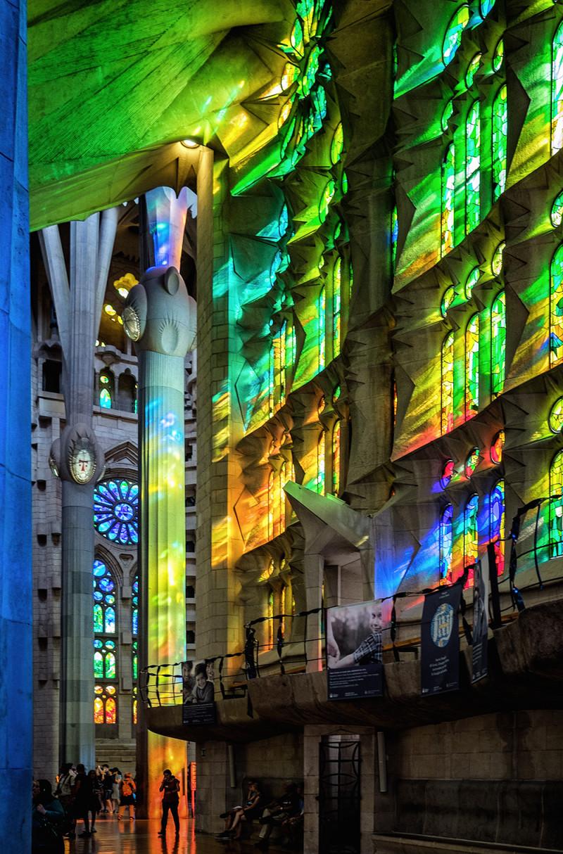 Sagrada Familia stained glass panels Barcelona Spain
