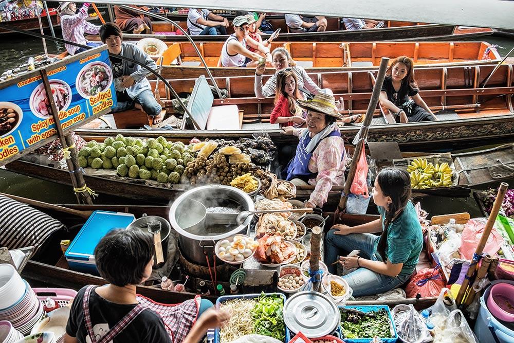 Damnoen Saduak Floating Market boats food Bangkok Thailand