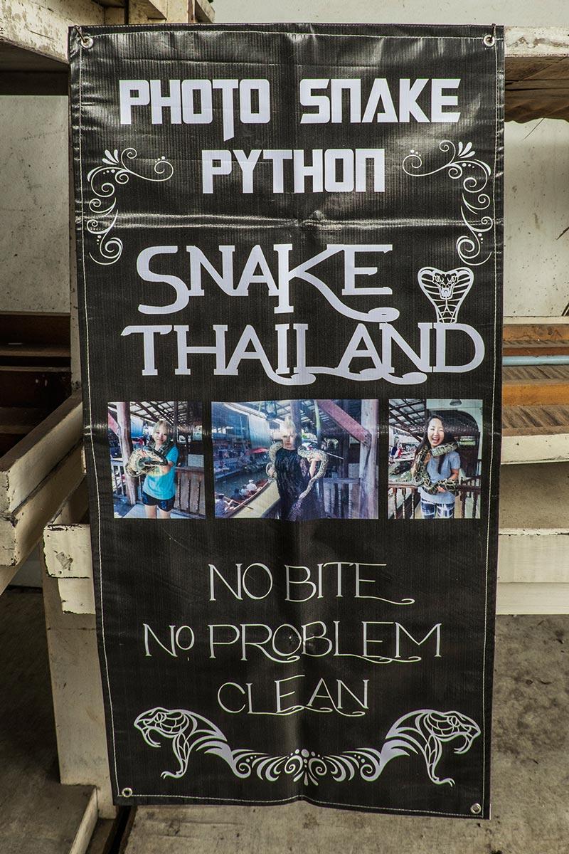 Damnoen Saduak Floating Market python snake sign Bangkok Thailand