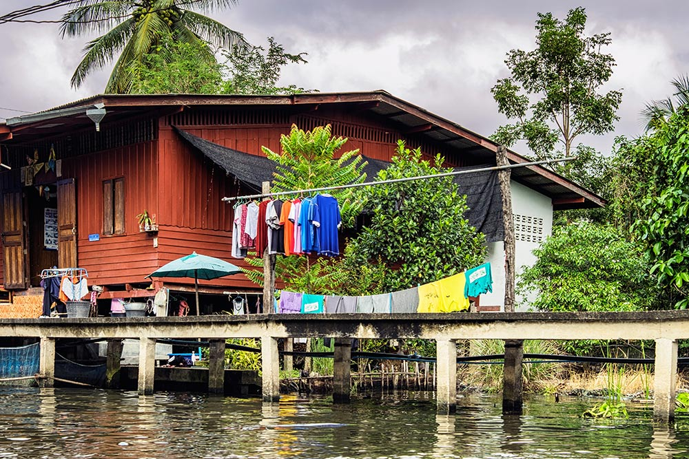 Damnoen Saduak floating market canal house Bangkok Thailand
