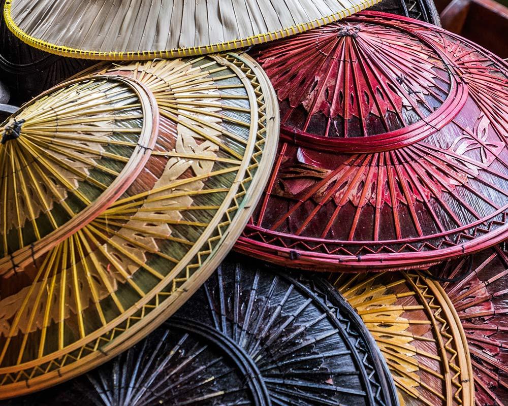 Damnoen Saduak floating market hats Bangkok Thailand