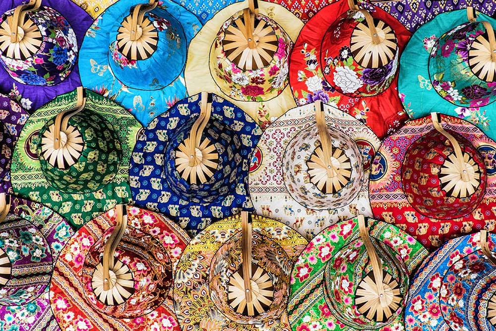 Damnoen Saduak floating market fabric hats Bangkok Thailand