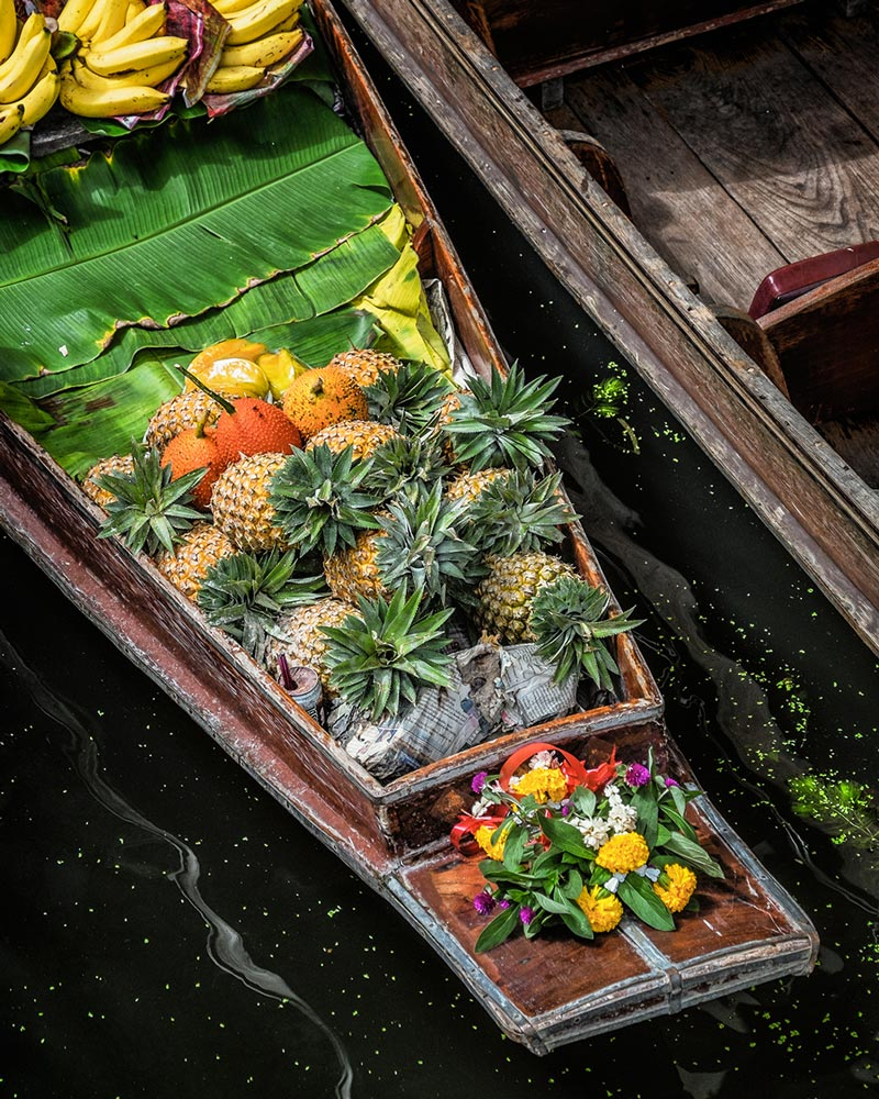 Damnoen Saduak floating market fruit boat Bangkok Thailand