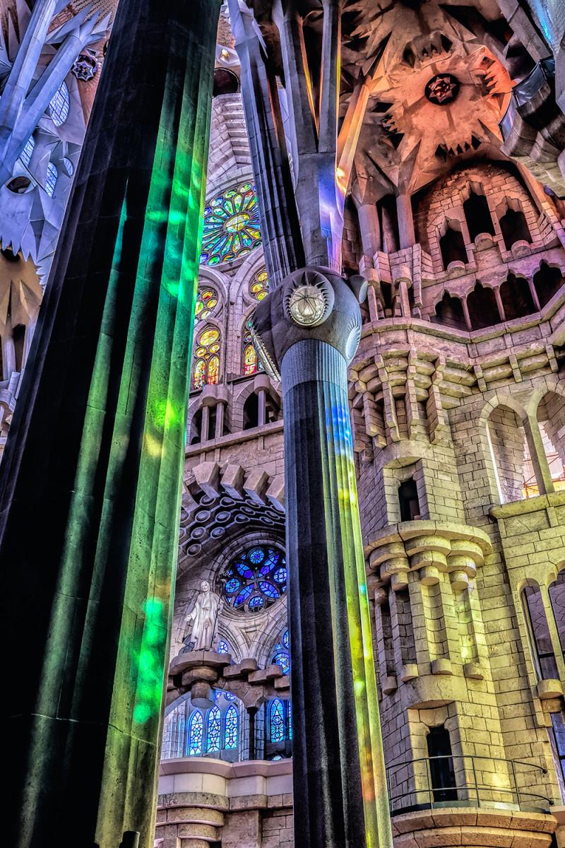 Sagrada Familia wall and columns Barcelona Spain