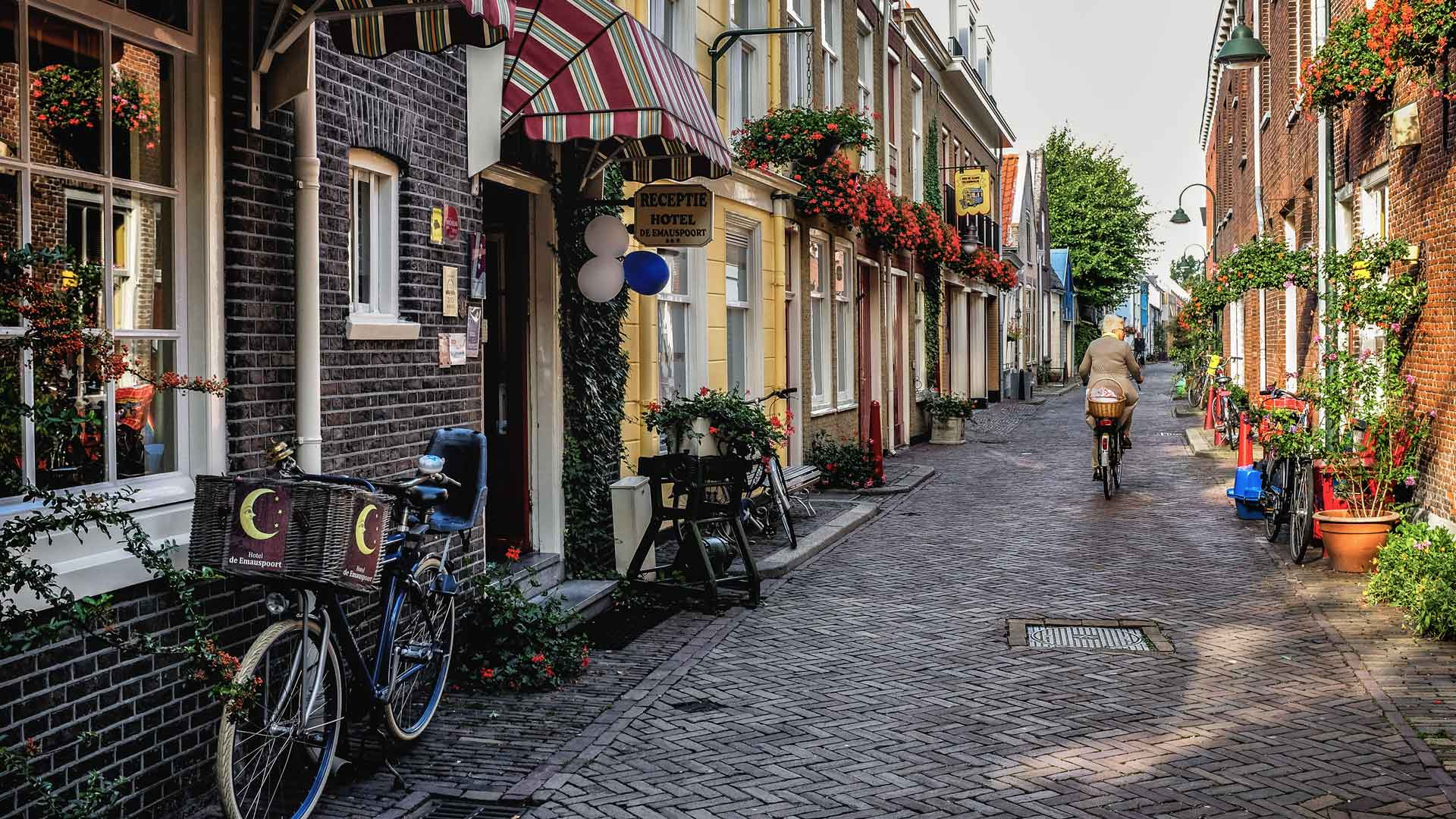 Woman riding bicycle Delft Netherlands